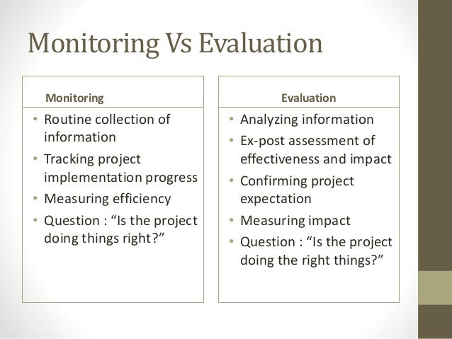 monitoring evaluation 2013-1-30  implementing partner staff, local organizations and primary stakeholders with a view of developing local monitoring and evaluation capacity facilitate, act as resource person, and join if required any external.