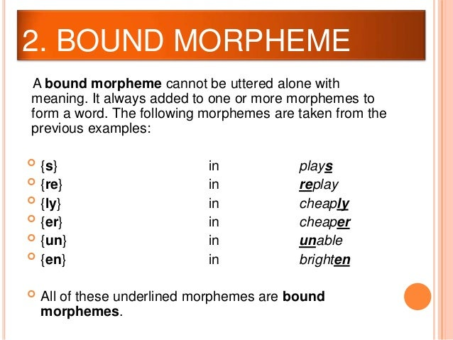 inflection and bound morphemes Unit 1 exercises b on-line dictionary 1 types of morphemes divide each word below into morphemes (use the glossary in the back of your textbook.