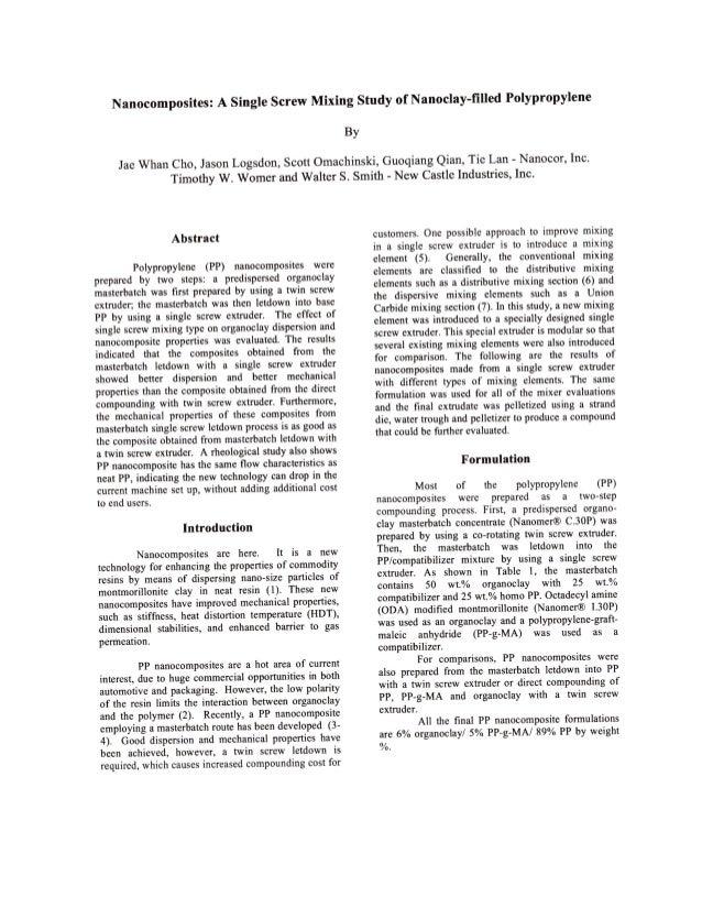 6. nanocomposites a single screw mixing study of nanoclay filled polypropylene