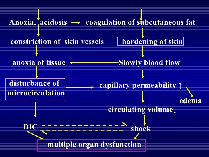 Anoxia,  acidosis coagulation of subcutaneous fat constriction of  skin vessels anoxia of tissue  hardening of skin  Slowl...