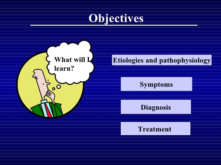 Objectives What will I learn? Etiologies and pathophysiology Symptoms Diagnosis Treatment