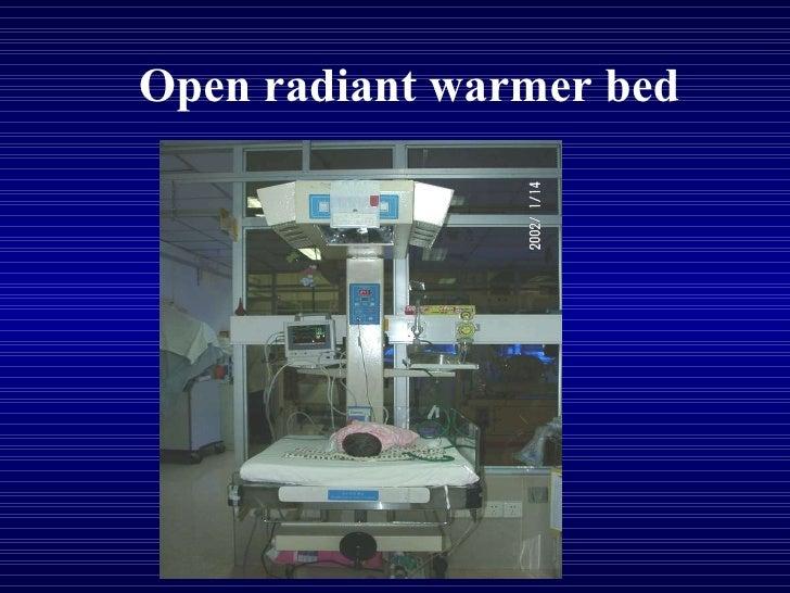 Open radiant warmer bed