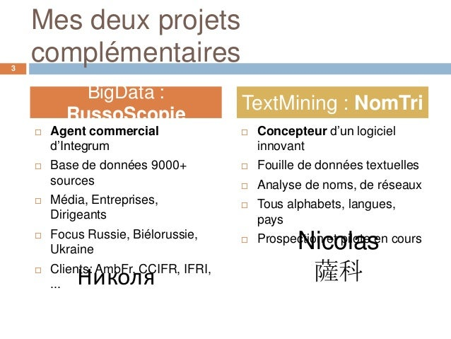Mes deux projets3    complémentaires            BigData :                                       TextMining : NomTri       ...
