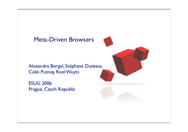 Meta-Driven Browsers Alexandre Bergel, Stéphane Ducasse, Colin Putney, Roel Wuyts ESUG 2006 Prague, Czech Republic Text