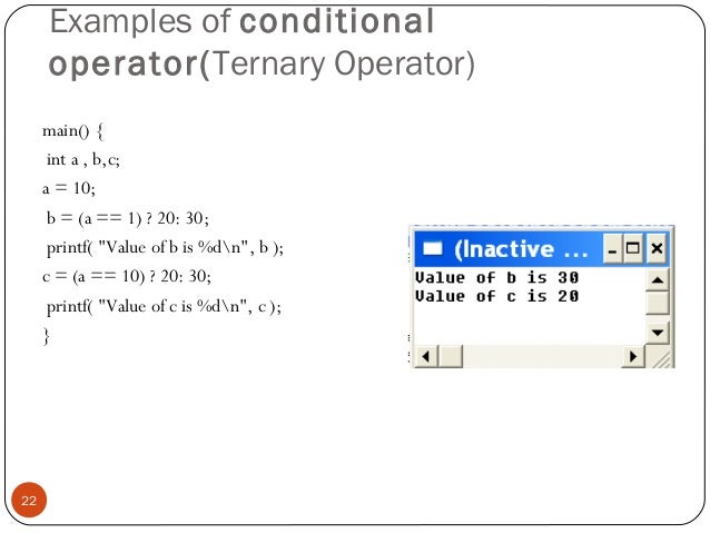 Conditional operator in c with example | about codes.