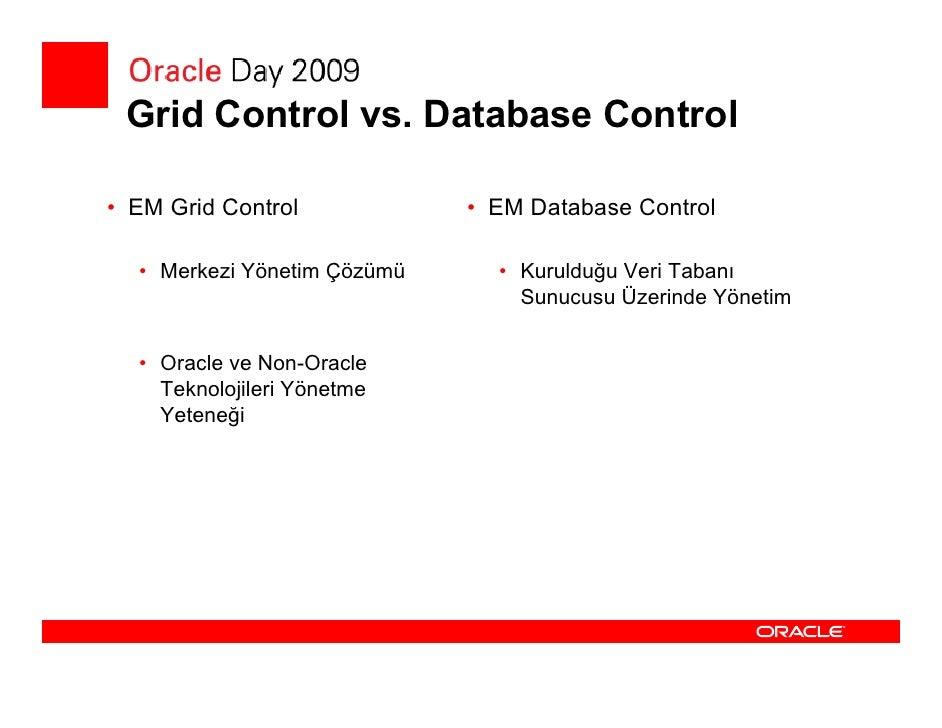 Database Control 11gR2  • Yeni Özellikler    • Tüm cluster'i bir bütün olarak yönetebilme imkanı    • Cluster üzerindeki t...