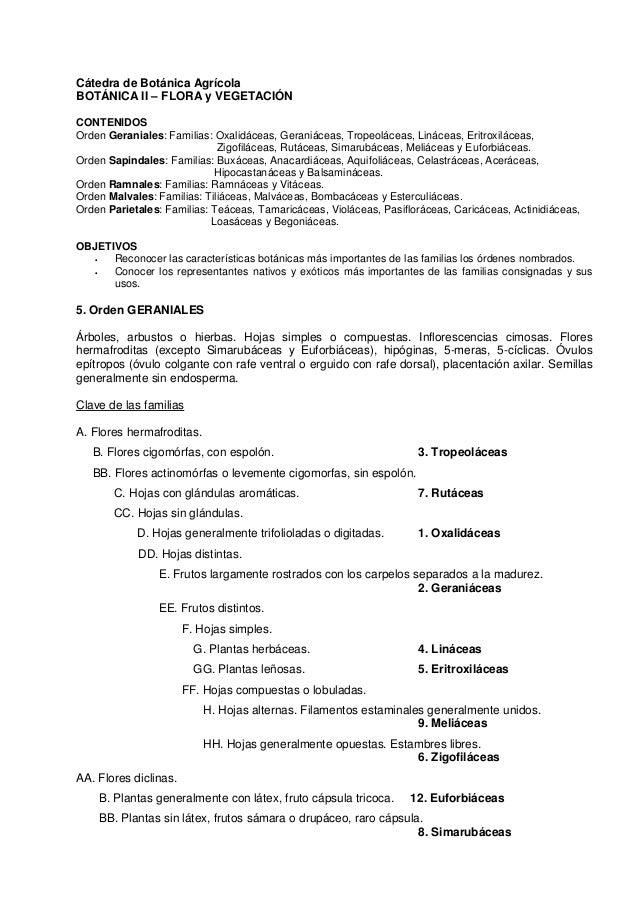 Cátedra de Botánica Agrícola BOTÁNICA II – FLORA y VEGETACIÓN CONTENIDOS Orden Geraniales: Familias: Oxalidáceas, Geraniác...