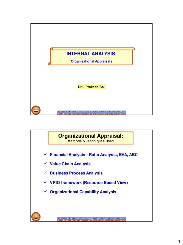 1 INTERNAL ANALYSIS: Organizational Appraisals Dr.L.Prakash Sai  Financial Analysis - Ratio Analysis, EVA, ABC  Value Ch...