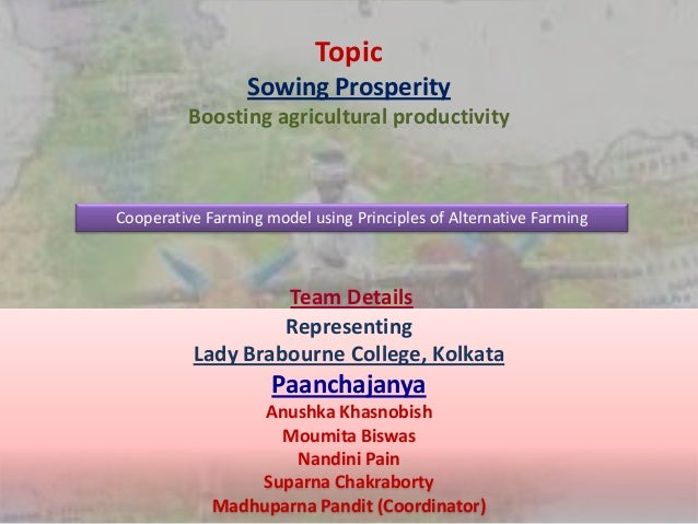 Topic Sowing Prosperity Boosting agricultural productivity Cooperative Farming model using Principles of Alternative Farmi...
