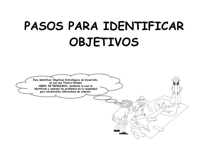 PASOS PARA IDENTIFICAR      OBJETIVOS Para identificar Objetivos Estratégicos de Desarrollo,               se usa una Técn...