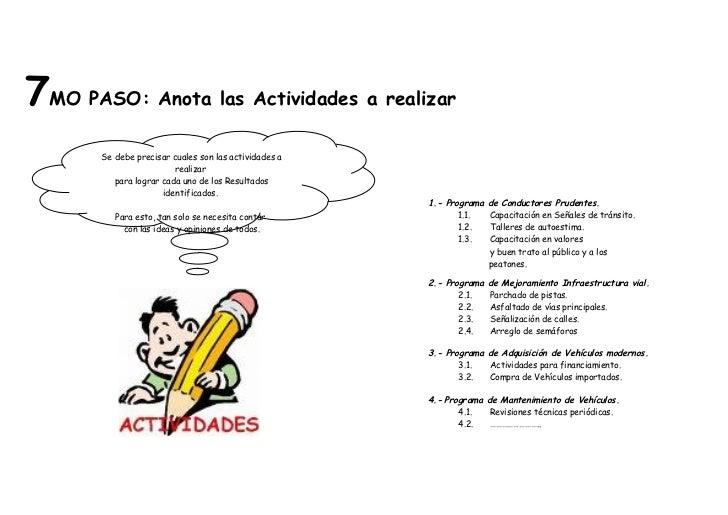 7MO PASO: Anota las Actividades a realizar       Se debe precisar cuales son las actividades a                         rea...