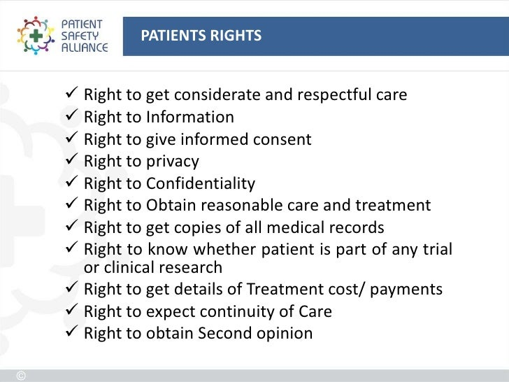 what are the rights of patients Patients' rights charter your right to dignity every patient has a right to: healthy  and safe environment participation in decision-making access to health care.