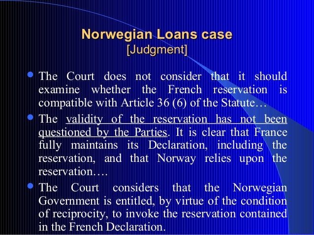 Norwegian Loans Case