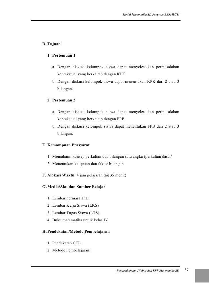 Pengembangan Silabus Dan Rpp Matematika Sd