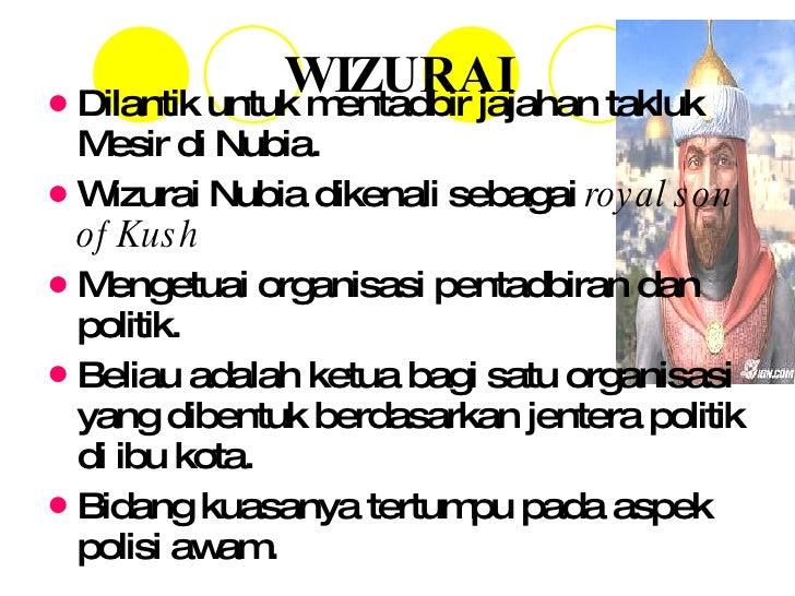 WIZURAI <ul><li>Dilantik untuk mentadbir jajahan takluk Mesir di Nubia. </li></ul><ul><li>Wizurai Nubia dikenali sebagai  ...