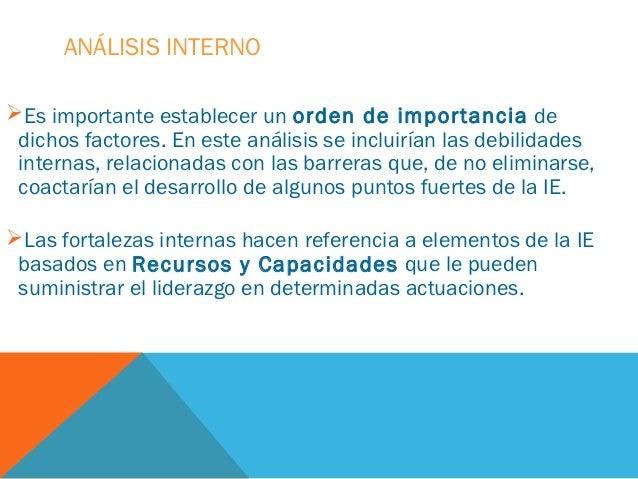 ANÁLISIS INTERNOEs importante establecer un orden de importancia de dichos factores. En este análisis se incluirían las d...