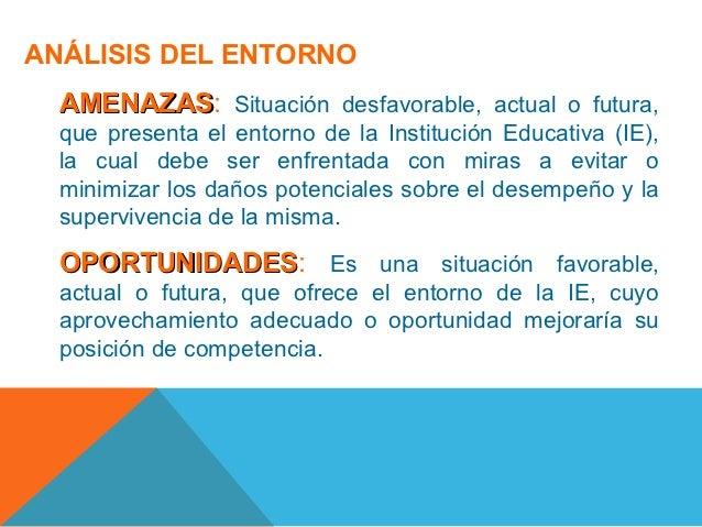 ANÁLISIS DEL ENTORNO  AMENAZAS: Situación desfavorable, actual o futura,  AMENAZAS  que presenta el entorno de la Instituc...