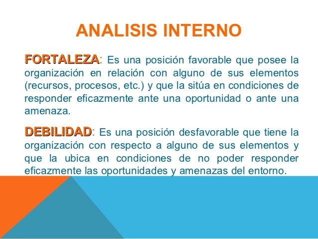 ANALISIS INTERNOFORTALEZA: Es una posición favorable que posee laFORTALEZAorganización en relación con alguno de sus eleme...