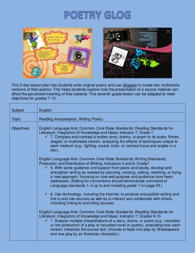 Poetry Glog, Language arts lesson plan