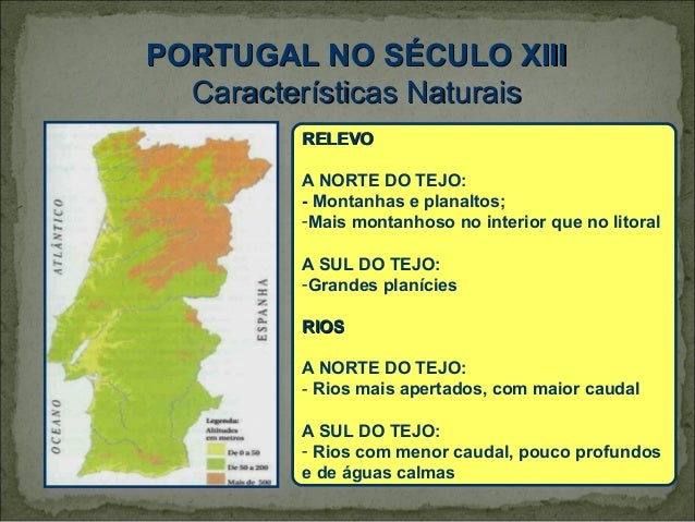 PORTUGAL NO SÉCULO XIII  Características Naturais         RELEVO         A NORTE DO TEJO:         - Montanhas e planaltos;...