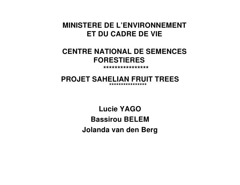 MINISTERE DE L'ENVIRONNEMENT       ET DU CADRE DE VIE  CENTRE NATIONAL DE SEMENCES        FORESTIERES          ***********...