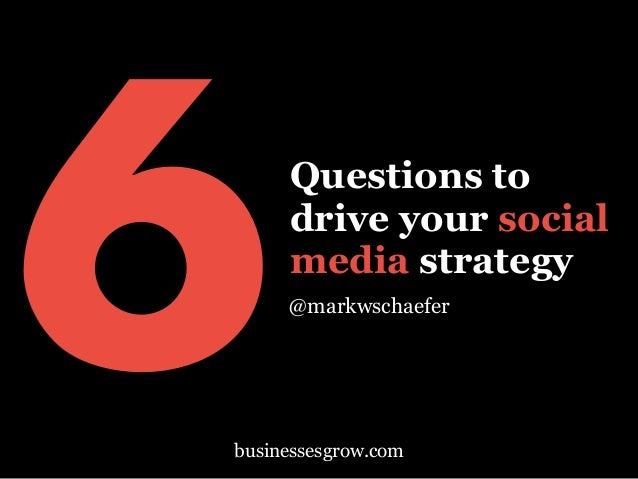 Questions to drive your social media strategy @markwschaefer 6businessesgrow.com