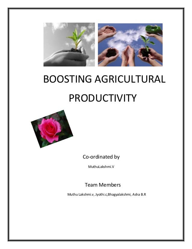 BOOSTING AGRICULTURAL PRODUCTIVITY Co-ordinated by MuthuLakshmi.V Team Members Muthu Lakshmi.v, Jyothi.c,Bhagyalakshmi, As...