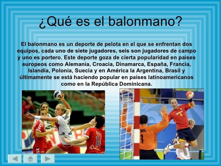 Balonmano for El gimnasio es un deporte