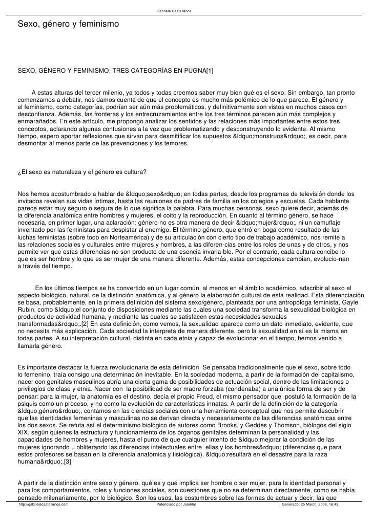 Gabriela Castellanos   Sexo, género y feminismo     SEXO, GÉNERO Y FEMINISMO: TRES CATEGORÍAS EN PUGNA[1]        A estas a...