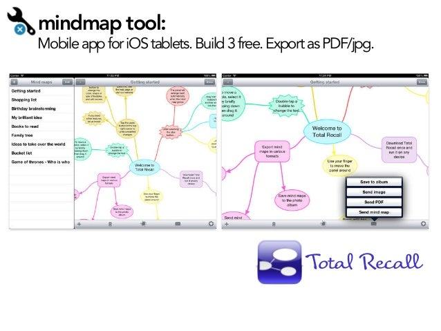 "mindmap tool:  Mobile app for iOS tablets. Build 3 free. Export as PDF/jpg.  Tota! Recal"""