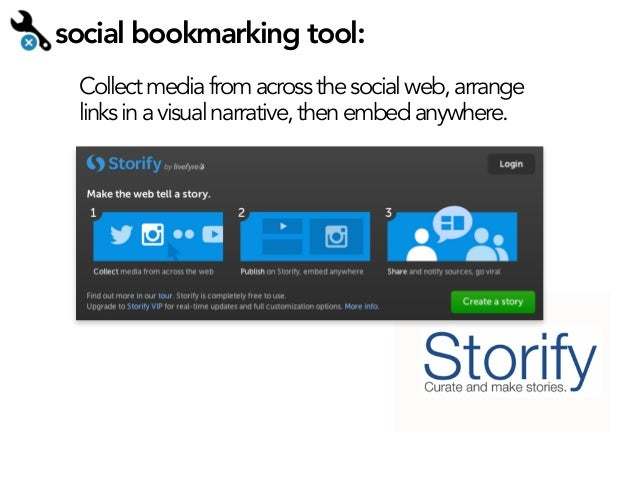social bookmarking tool: Collect media from across the social web, arrange links in a visual narrative, then embed anywher...