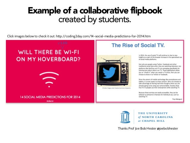Example of a collaborative flipbook created by students. Click images below to check it out: http://coding2day.com/14-soci...
