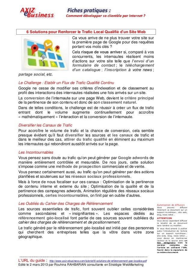 6 Solutions pour Renforcer le Trafic Local Qualifié d'un Site Web                                          Ca vous arrive ...