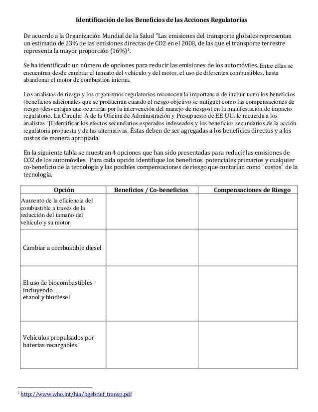 """Identificación de los Beneficios de las Acciones Regulatorias De acuerdo a la Organización Mundial de la Salud """"Las emisio..."""