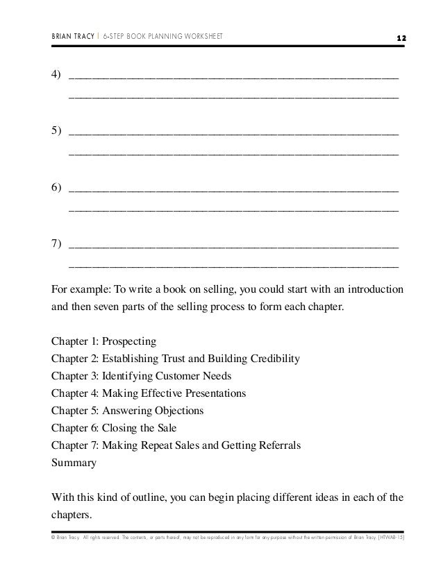 6 stepbookplanningworksheet – Chapter Summary Worksheet