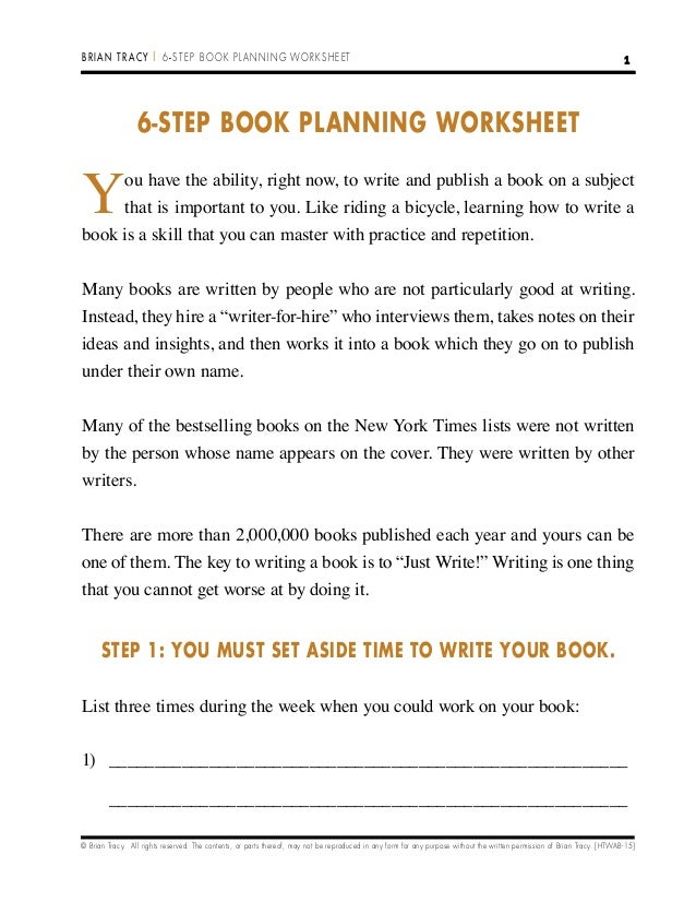 6 stepbookplanningworksheet – Step 1 Worksheet