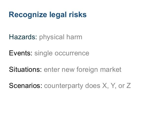 Record legal risks Risk register: list ! Risks: name ! Likelihood: simple scale ! Consequence: simple scale ! Risk rating:...