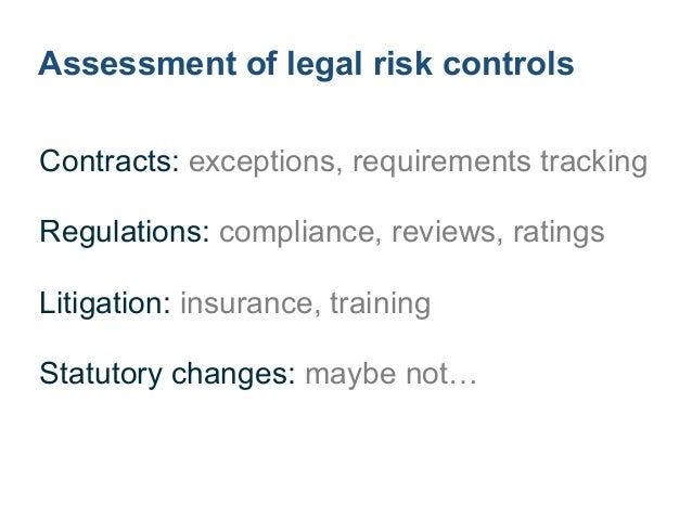 Likelihood of legal risks ! ! Discovery: likelihood that other party learns Decision: likelihood of adverse decision
