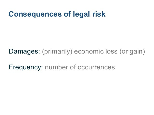 Damages from legal risk ! Contracts: agreed, implied fees and penalties Regulations: fines, penalties, orders ! Litigation...