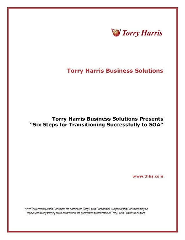 """Torry Harris Business Solutions Torry Harris Business Solutions Presents """"Six Steps for Transitioning Successfully to SOA""""..."""