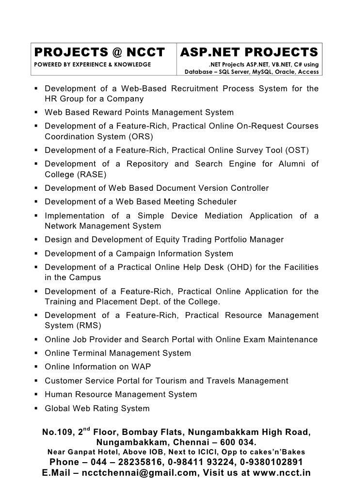 6 Sw Ncct Asp Net Project Titles