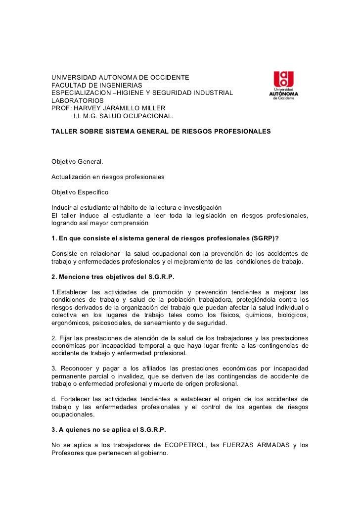 UNIVERSIDAD AUTONOMA DE OCCIDENTEFACULTAD DE INGENIERIASESPECIALIZACION –HIGIENE Y SEGURIDAD INDUSTRIALLABORATORIOSPROF: H...