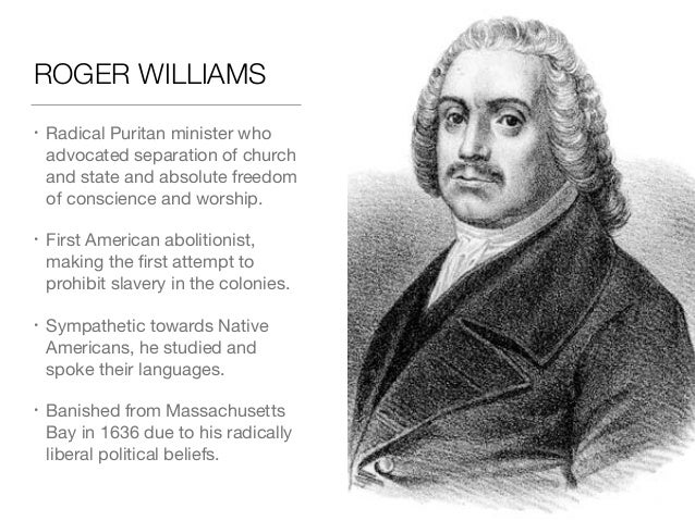 A comparison of roger williams and anne hutchinson beliefs