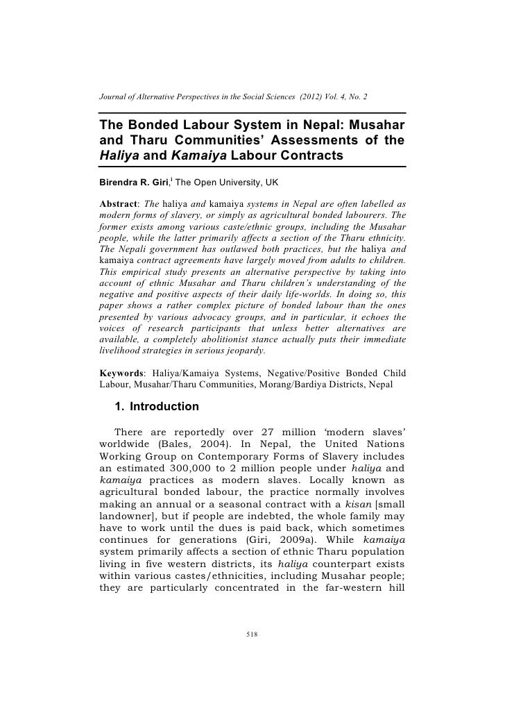 .    Journal of Alternative Perspectives in the Social Sciences (2012) Vol. 4, No. 2    The Bonded Labour System in Nepal:...