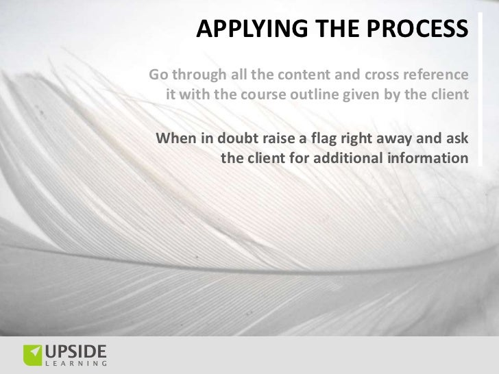 APPLYING THE PROCESSGo through all the content and cross reference  it with the course outline given by the client When in...