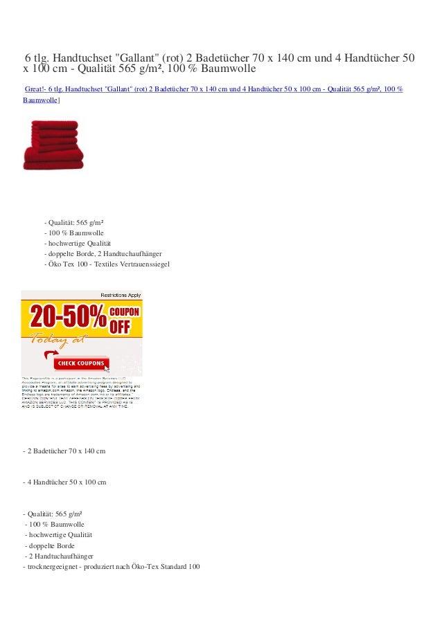 """6 tlg. Handtuchset """"Gallant"""" (rot) 2 Badetücher 70 x 140 cm und 4 Handtücher 50x 100 cm - Qualität 565 g/m², 100 % Baumwol..."""