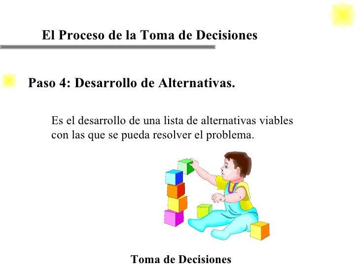 El Proceso de la Toma de Decisiones Toma de Decisiones Es el desarrollo de una lista de alternativas viables con las que s...