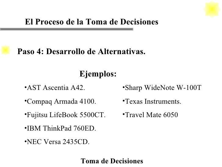 El Proceso de la Toma de Decisiones Toma de Decisiones Ejemplos: <ul><li>AST Ascentia A42. </li></ul><ul><li>Compaq Armada...