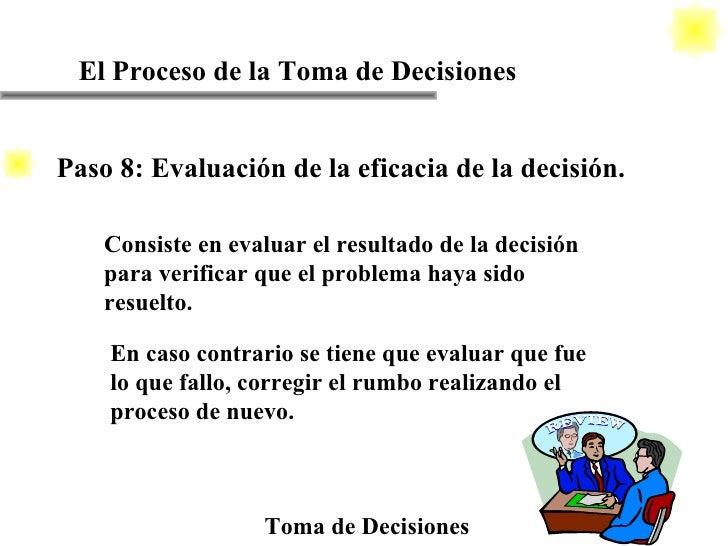 El Proceso de la Toma de Decisiones Toma de Decisiones Consiste en evaluar el resultado de la decisión para verificar que ...