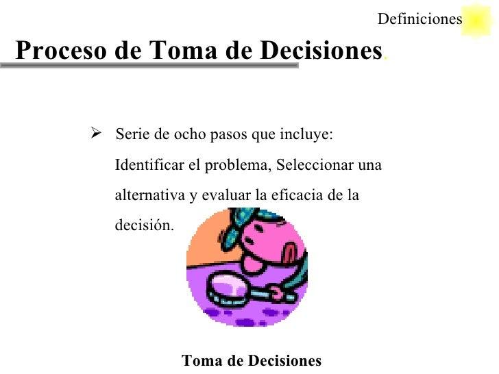 Proceso de Toma de Decisiones . <ul><li>Serie de ocho pasos que incluye: </li></ul><ul><li>Identificar el problema, Selecc...